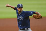 Tampa Rays Charlie Morton pitches against the Atlanta Braves during the first inning of the home-opening baseball game against the Tampa Bay Rays, Wednesday, July 29, 2020 in Atlanta. (AP Photo/John Amis)