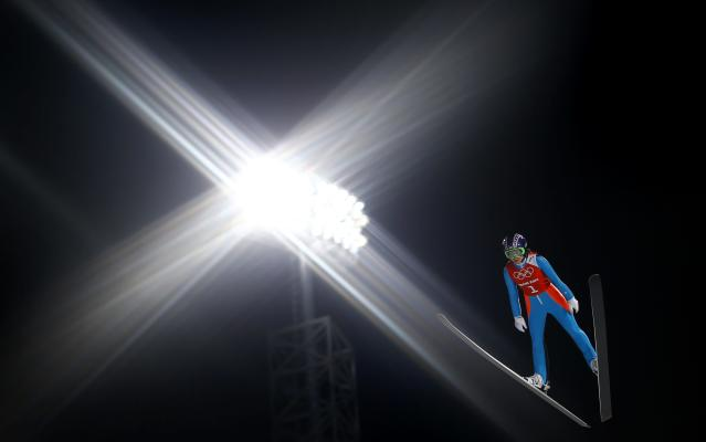 Sarah Hendrickson from the U.S. soars through the air during the women's ski jumping individual normal hill training event of the Sochi 2014 Winter Olympic Games, at the RusSki Gorki Ski Jumping Center in Rosa Khutor February 10, 2014. REUTERS/Kai Pfaffenbach (RUSSIA - Tags: SPORT OLYMPICS SKIING TPX IMAGES OF THE DAY)
