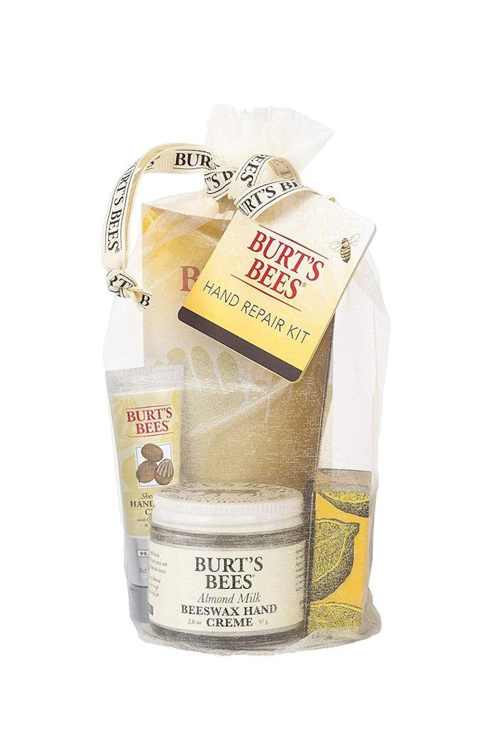 """<p><strong>Burt's Bees</strong></p><p>amazon.com</p><p><strong>$13.96</strong></p><p><a href=""""https://www.amazon.com/dp/B0009F3R7E?tag=syn-yahoo-20&ascsubtag=%5Bartid%7C10072.g.26787035%5Bsrc%7Cyahoo-us"""" rel=""""nofollow noopener"""" target=""""_blank"""" data-ylk=""""slk:SHOP NOW"""" class=""""link rapid-noclick-resp"""">SHOP NOW</a></p><p>Between all of those diaper changes and her dutiful effort to stay germ-free, chances are her hands are taking a beating this winter. This soothing gift set, which includes three nourishing creams and a set of gloves to let everything soak in, will do just the trick to keep her hands looking and feeling good. This also makes a great addition to a gift basket.</p>"""