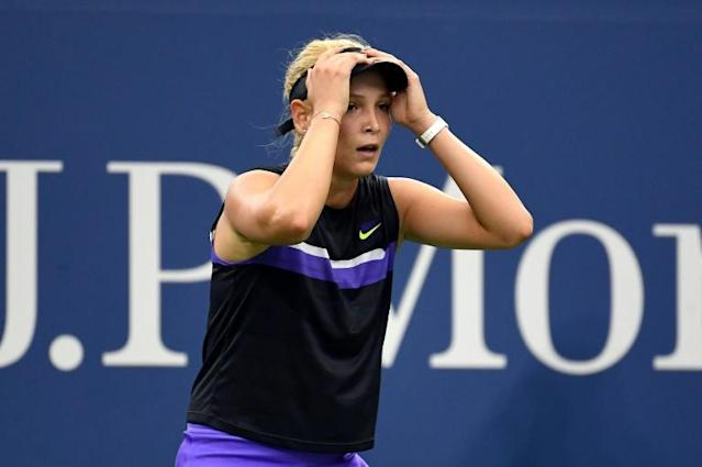 Croatia's Donna Vekic reacts to reaching her first Grand Slam quarter-final by winning Monday over Germany's Julia Goerges at the US Open (AFP Photo/Emilee Chinn)