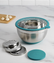 """We love a kitchen multitasker: Perfect for the salad-lover—or latke-lover, come to think of it—this 5-quart stainless-steel mixing bowl allows you to grate or slice directly into it by attaching one of three grating plates into the lid. It makes prep work convenient and easy and has a non-slip silicone base to prevent spills. Plus, it's a cinch to clean. (Yup, it's dishwasher-friendly!) When you're not using it for vegetables, it's also roomy enough for batter or dough. $43, Macy's. <a href=""""https://www.macys.com/shop/product/goodful-5-qt.-grater-prep-bowl-created-for-macys?ID=6545068&CategoryID=22672"""" rel=""""nofollow noopener"""" target=""""_blank"""" data-ylk=""""slk:Get it now!"""" class=""""link rapid-noclick-resp"""">Get it now!</a>"""