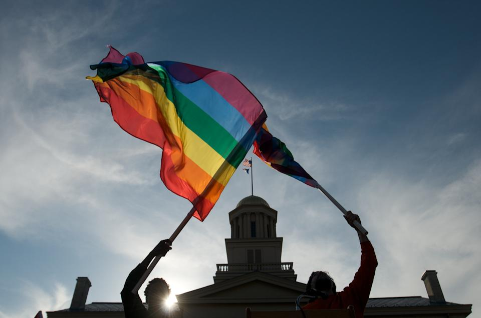Gay, lesbian and transgender activists in Iowa City, Iowa. (Photo by David Greedy/Getty Images)