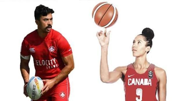 Rugby sevens co-captain Nathan Hirayama, left, and basketball player Miranda Ayim, right, were chosen as Canada's flag-bearers for the Tokyo 2020 opening ceremony on Monday.  (Instagram/CBC Sports - image credit)