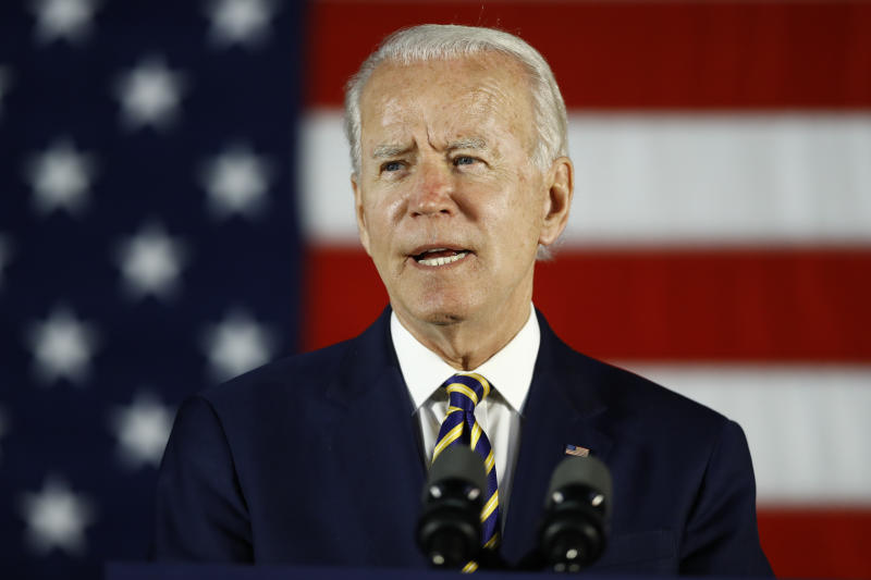In this June 17, 2020, photo, Democratic presidential candidate, former Vice President Joe Biden speaks in Darby, Pa. John Bolton's claims that President Donald Trump urged China's Xi Jinping to help him win reelection is casting a renewed spotlight on a major front in the 2020 presidential campaign: the battle over who has been softer on Beijing. China already loomed large in the contest as Trump and Biden, have traded accusations over corruption, geopolitical pandering and the president's wild shifts in tone toward the Asia superpower (AP Photo/Matt Slocum)