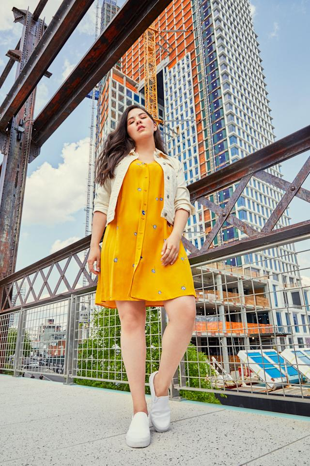 <p>For a low-key summery look, this button-front dress pairs effortlessly with a denim jacket and slip-on sneakers. Come Fall, a cardigan or sweater is cute atop this lightweight dress with ankle boots as a seasonal finish. </p>