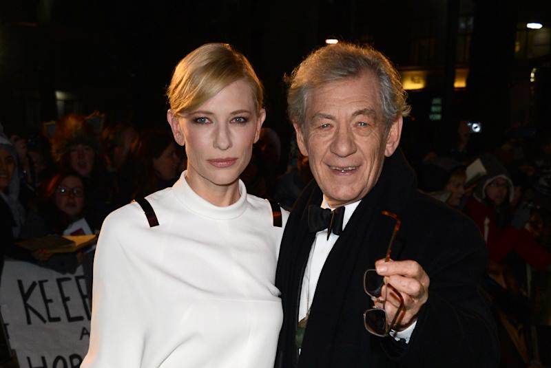 """Actors Cate Blanchett and Ian McKellan arrive at the UK premiere of """"The Hobbit: An Unexpected Journey"""" at The Odeon Leicester Square, London on Wednesday, Dec. 12, 2012. (Photo by Jon Furniss/Invision/AP)"""