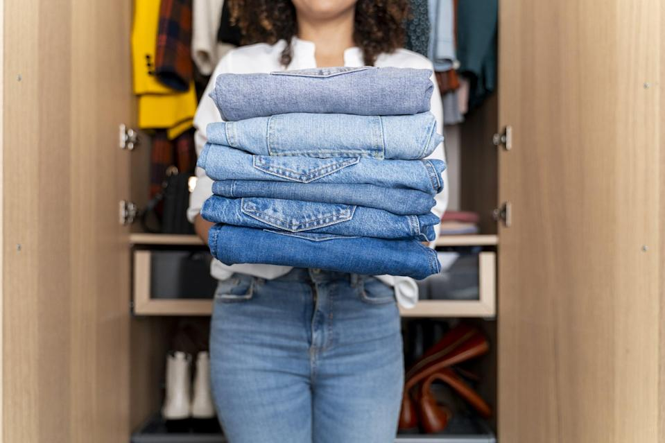 """<p>Why take up precious space with clothes you won't wear for months? Store your off-season items like winter jackets or <a href=""""https://www.popsugar.com/fashion/tiktok-swimsuit-hacks-48265317"""" class=""""link rapid-noclick-resp"""" rel=""""nofollow noopener"""" target=""""_blank"""" data-ylk=""""slk:swimsuits"""">swimsuits</a> in another place for the time being and swap them out when it's time to bring them back to life! When you go through your <a href=""""https://www.popsugar.com/family/Closet-Organization-Systems-45958620"""" class=""""link rapid-noclick-resp"""" rel=""""nofollow noopener"""" target=""""_blank"""" data-ylk=""""slk:closet"""">closet</a> every three months or so, you can get rid of clothes that you no longer wear or no longer fit. You want your closet to be made up of the clothes you wear regularly to avoid clutter and to simplify getting dressed!</p>"""