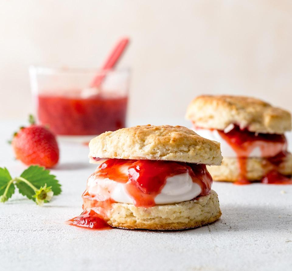 """<p>If you love strawberries, then you'll love this <a href=""""https://www.thedailymeal.com/best-strawberry-shortcake-recipes/61314?referrer=yahoo&category=beauty_food&include_utm=1&utm_medium=referral&utm_source=yahoo&utm_campaign=feed"""" rel=""""nofollow noopener"""" target=""""_blank"""" data-ylk=""""slk:strawberry shortcake recipe"""" class=""""link rapid-noclick-resp"""">strawberry shortcake recipe</a>. Fresh strawberries are used to make a sweet sauce that is poured over a strawberry whipped yogurt filling set in between two biscuits.</p> <p><a href=""""https://www.thedailymeal.com/recipes/strawberry-shortcakes-recipe-0?referrer=yahoo&category=beauty_food&include_utm=1&utm_medium=referral&utm_source=yahoo&utm_campaign=feed"""" rel=""""nofollow noopener"""" target=""""_blank"""" data-ylk=""""slk:For the Strawberry Shortcakes recipe, click here."""" class=""""link rapid-noclick-resp"""">For the Strawberry Shortcakes recipe, click here.</a></p>"""