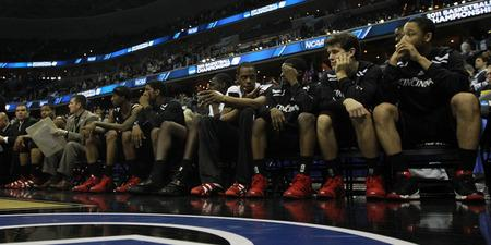 WASHINGTON - MARCH 19:  The Cincinnati Bearcats sit on the bench during their 69-58 loss to the Connecticut Huskies during the third round of the 2011 NCAA men's basketball tournament at Verizon Center on March 19, 2011 in Washington, DC.  (Photo by Nick Laham/Getty Images)