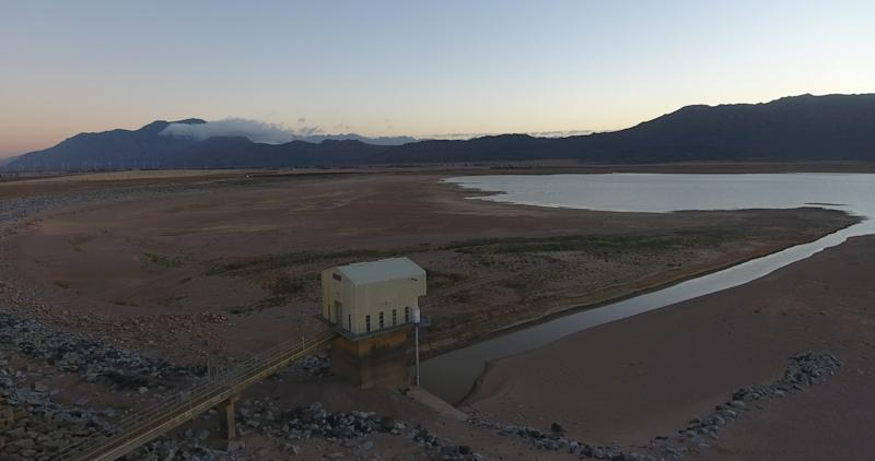 Cape Town's Voëlvlei Dam at only 18.5 percent capacity on Jan. 25, 2018. (Morgana Wingard via Getty Images)
