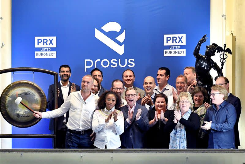 FILE PHOTO: Bob van Dijk, CEO of Naspers and Prosus Group poses at Amsterdam's stock exchange, as Prosus begins trading on the Euronext stock exchange in Amsterdam