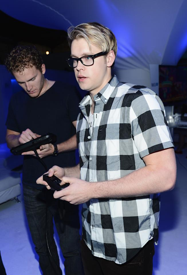 LOS ANGELES, CA - SEPTEMBER 20:  Chord Overstreet (R) and guest attend the Nintendo Hosts Wii U Experience In Los Angeles on September 20, 2012 in Los Angeles, California.  (Photo by Michael Buckner/Getty Images for Nintendo)