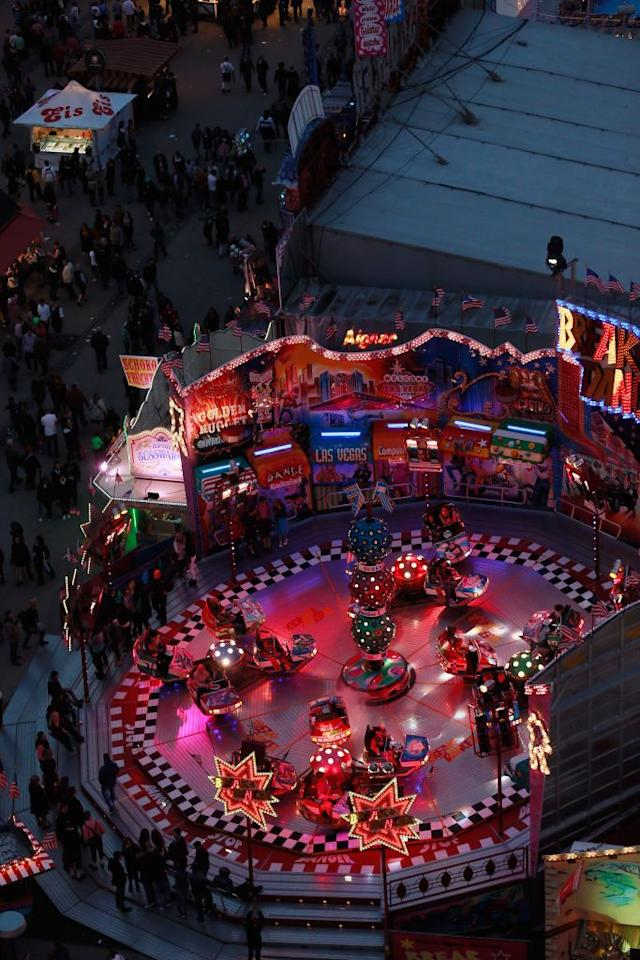A view of the Oktoberfest beer festival, seen from the giant ferris wheel in the dusk of day 1 of Oktoberfest beer festival on September 22, 2012 in Munich, Germany.This year's edition of the world's biggest beer festival Oktoberfest will run until October 7, 2012.