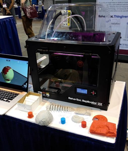 Iowa State's MakerBot Replicator printing the Earth on Oct. 28 during the Geological Society of America meeting in Denver.