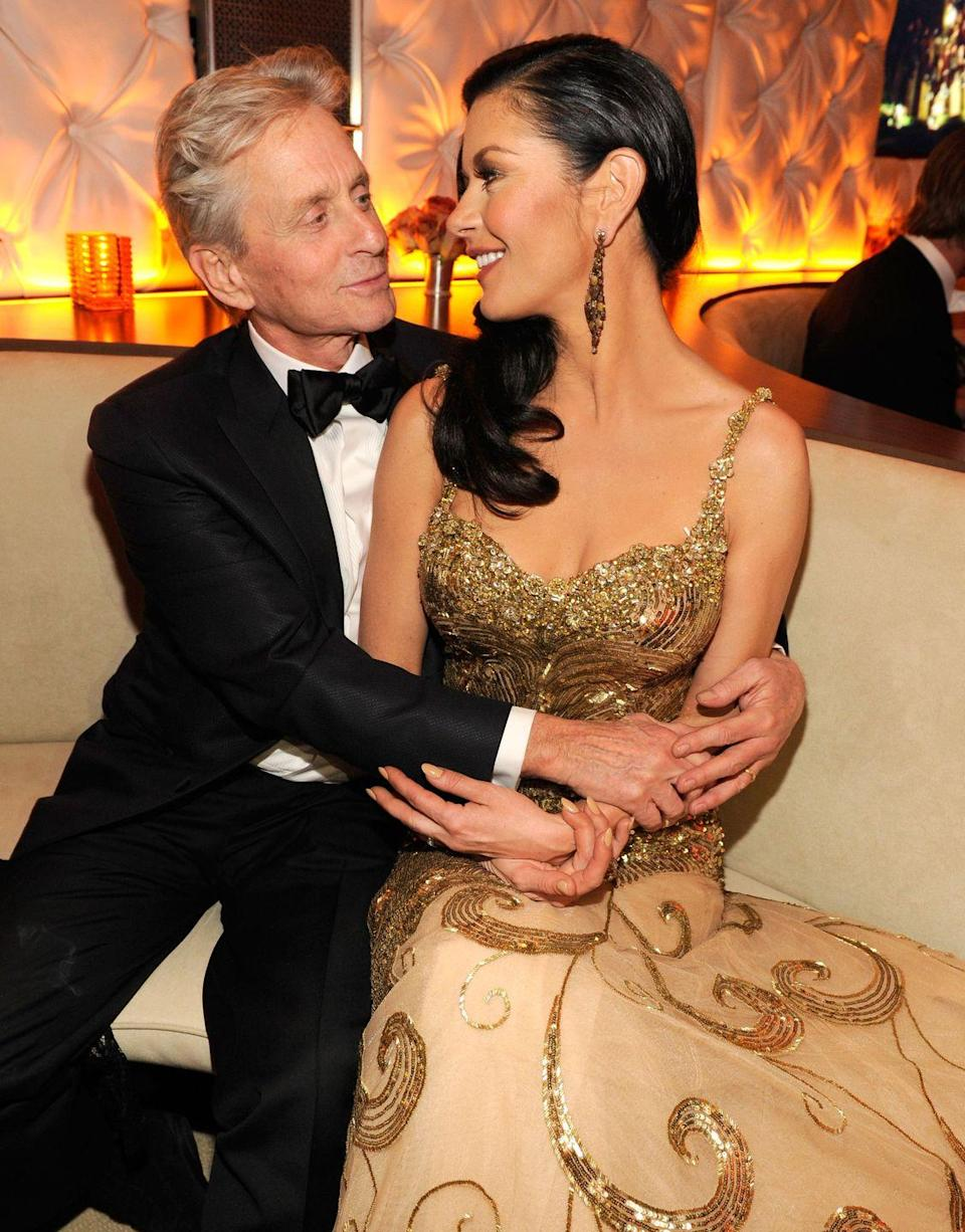 "<p>Zeta-Jones and Douglas may be 25 years apart, but they happen to share the same birthday: September 25. The pair was introduced at the Deauville Film Festival in 1996. Douglas <a href=""http://www.eonline.com/news/882502/the-story-of-how-michael-douglas-and-catherine-zeta-jones-fell-in-love"" rel=""nofollow noopener"" target=""_blank"" data-ylk=""slk:proposed"" class=""link rapid-noclick-resp"">proposed</a> in 1999, a month after he confirmed rumors that Zeta-Jones was pregnant. The actress gave birth to son Dylan in August of 1999, and the two were married in November 2000. They <a href=""https://www.thesun.co.uk/archives/news/980464/douglass-oral-sex-confession-led-to-marriage-split/"" rel=""nofollow noopener"" target=""_blank"" data-ylk=""slk:briefly separated"" class=""link rapid-noclick-resp"">briefly separated</a> in 2013, but soon rekindled their relationship and are still going strong.</p>"