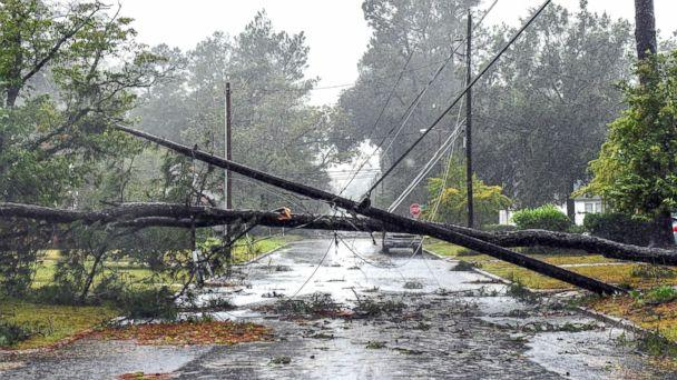 PHOTO: Tropical Storm Florence continues to unleash massive amount of rain on Lumberton, N.C., on Sept. 15, 2018, causing downed trees and power lines and minor flooding in areas. (Jeremiah Wilson/USA TODAY NETWORK)