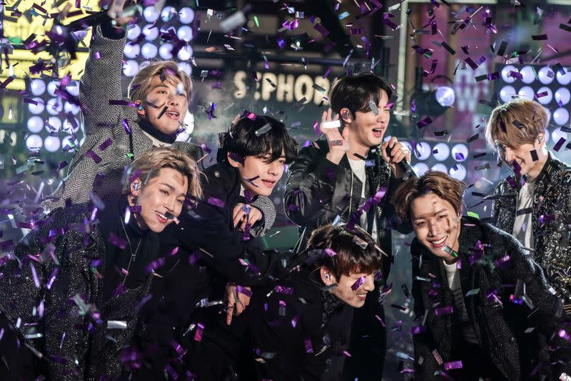 BTS performs during New Year's Eve celebrations in Times Square in the Manhattan borough of New York