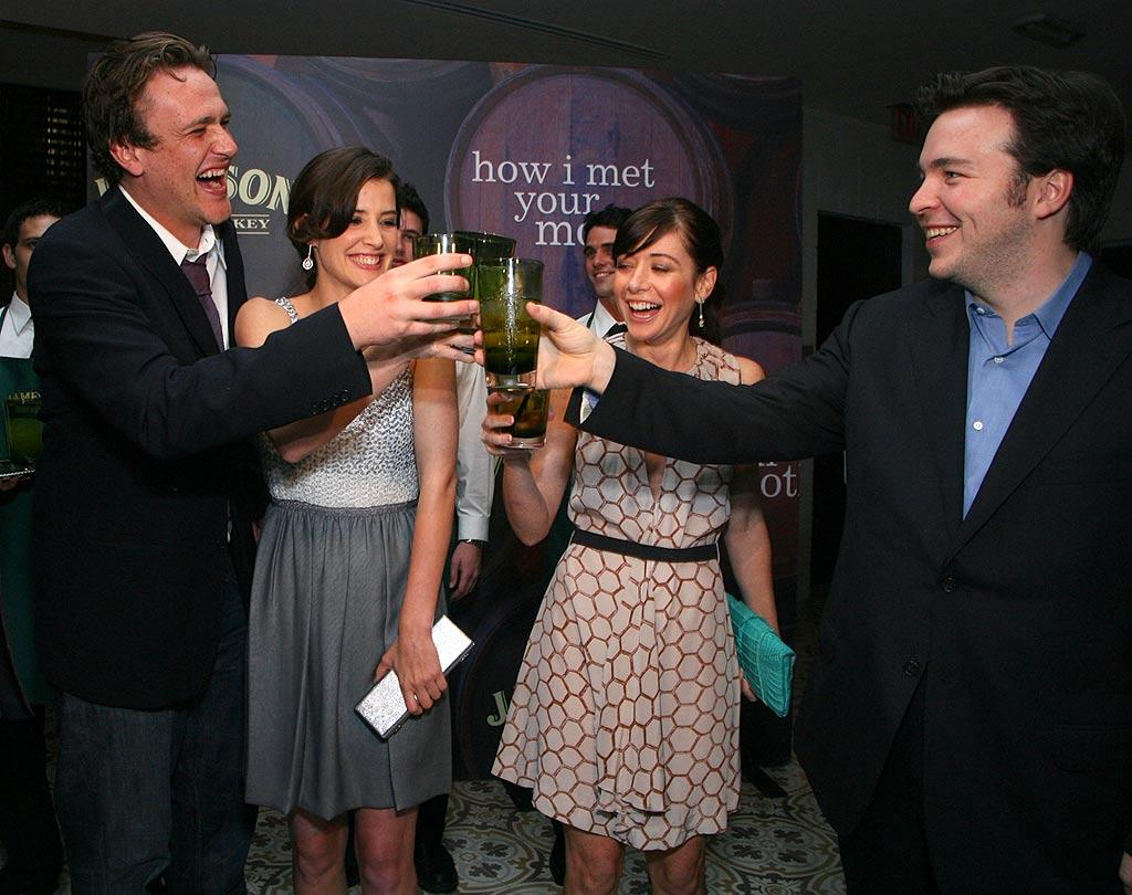 "The cast of ""How I Met Your Mother"" (Jason Segel, Cobie Smulders, Alyson Hannigan, and executive producer Carter Bays) toast the show's return with Jameson Whiskey. Britney Spears' makes a guest appearance on the March 24th episode of the hit comedy. Alexandra Wyman/<a href=""http://www.wireimage.com"" target=""new"">WireImage.com</a> - March 13, 2008"