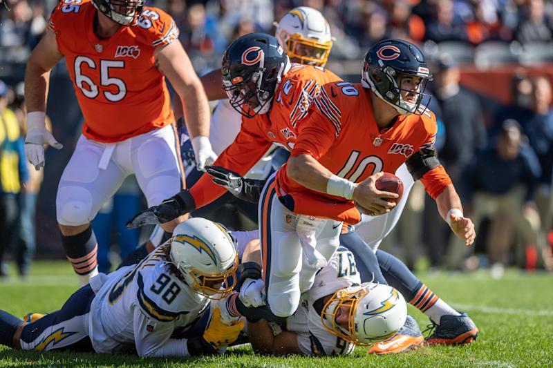 =====CHICAGO, IL - OCTOBER 27: Chicago Bears Quarterback Mitchell Trubisky (10) is sacked by Los Angeles Chargers Defensive End Joey Bosa (97) in the 1st quarter during an NFL football game between the Los Angeles Chargers and the Chicago Bears on October 27, 2019, at Soldier Field in Chicago, IL. (Photo by Daniel Bartel/Icon Sportswire via Getty Images)