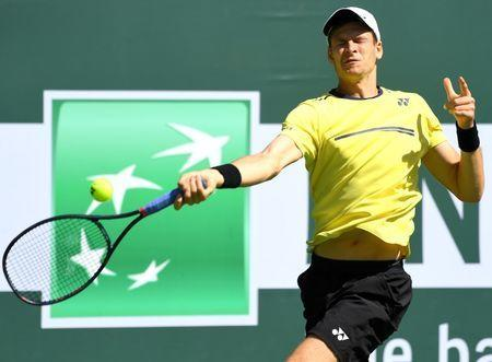 FILE PHOTO: Mar 15, 2019; Indian Wells, CA, USA; Hubert Hurkacz (POL) during his semi final match against Roger Federer (not pictured) in the BNP Paribas Open at the Indian Wells Tennis Garden. Mandatory Credit: Jayne Kamin-Oncea-USA TODAY Sports