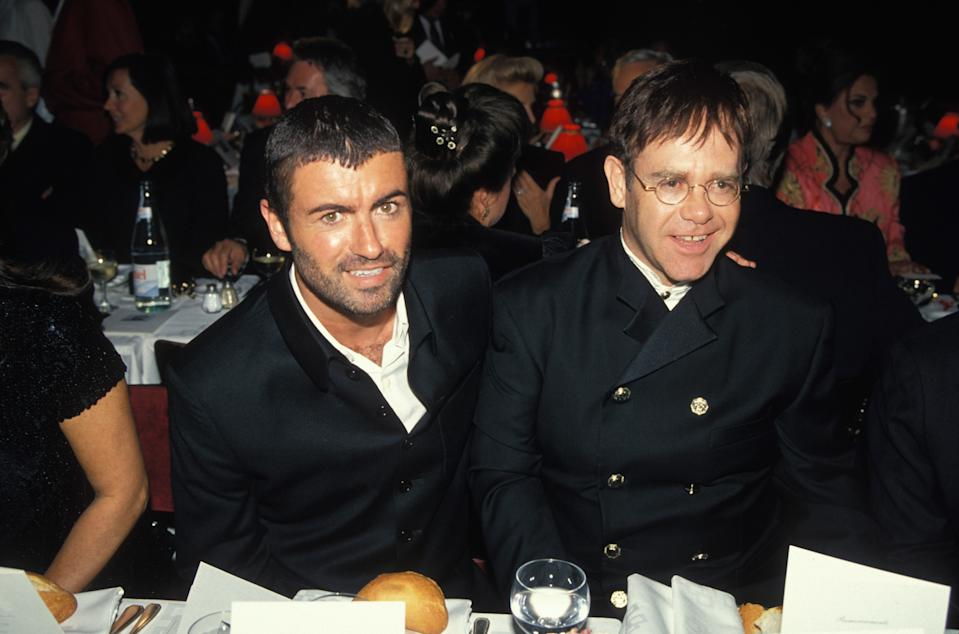George Michael and Elton John at party against AIDS at the Moulin Rouge cabaret on October 11, 1994 in Paris, France. (Photo by Alain BENAINOUS/Gamma-Rapho via Getty Images)