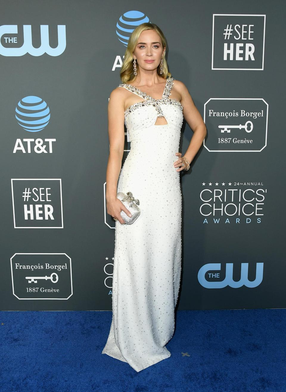 <p>Mary Poppins Returns actress Emily Blunt stunned in a jewelled white dress. Source: Getty </p>
