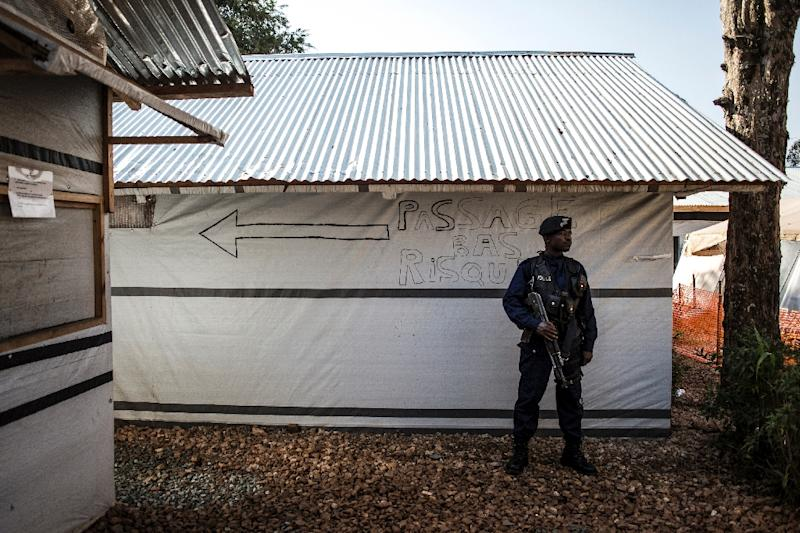 A police officer guarding an Ebola Treatment Centre in Butembo, the epicentre of DR Congo's latest Ebola outbreak