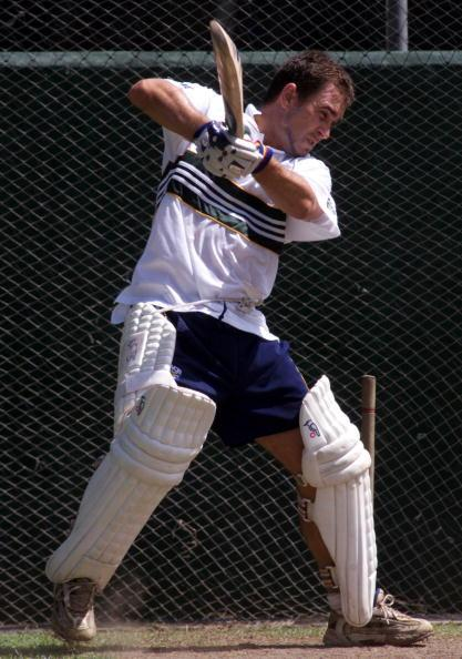 14 Sep 1999:  Justin Langer of Australia batting, during training at Singhalese Sports Club, Colombo, Sri Lanka. Mandatory Credit: Hamish Blair/ALLSPORT