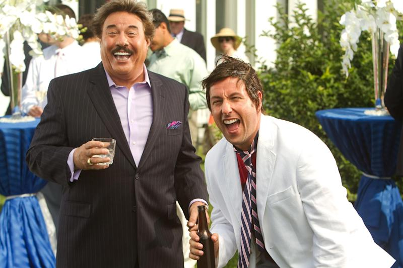 """FILE - This undated publicity film image released by Columbia Pictures - Sony shows Tony Orlando, left, and, Adam Sandler, in a scene from """"That's My Boy."""" """"The Twilight Saga: Breaking Dawn - Part 2"""" led the Razzies lineup Wednesday, Jan. 9, 2013, with 11 nominations. Other worst-picture nominees are the naval action tale """"Battleship,"""" the family flick """"The Oogieloves in the Big Balloon Adventure,"""" Adam Sandler's comedy dud """"That's My Boy"""" and Eddie Murphy's fantasy flop """"A Thousand Words."""" (AP Photo/Columbia Pictures - Sony, Tracy Bennett, File)"""