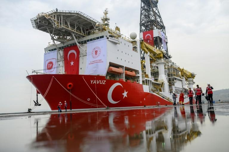 Turkey argues that its ships, including this one photographed at a port near Istanbul in June, are drilling within its continental shelf (AFP Photo/BULENT KILIC)