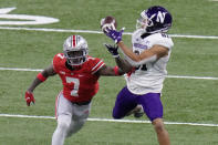Northwestern wide receiver Ramaud Chiaokhiao-Bowman (81) catches a pass as Ohio State cornerback Sevyn Banks (7) defends during the second half of the Big Ten championship NCAA college football game, Saturday, Dec. 19, 2020, in Indianapolis. (AP Photo/AJ Mast)