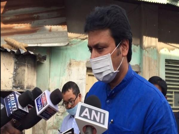 Tripra Chief Minister Biplab Kumar Deb talks to media in Agaratala on Tuesday. (Photo/ANI)