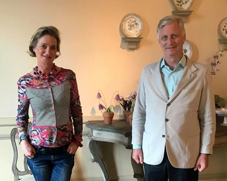 A handout picture from the Belgian royal family shows Delphine Saxe-Coburg with King Philippe at their meeting on October 9