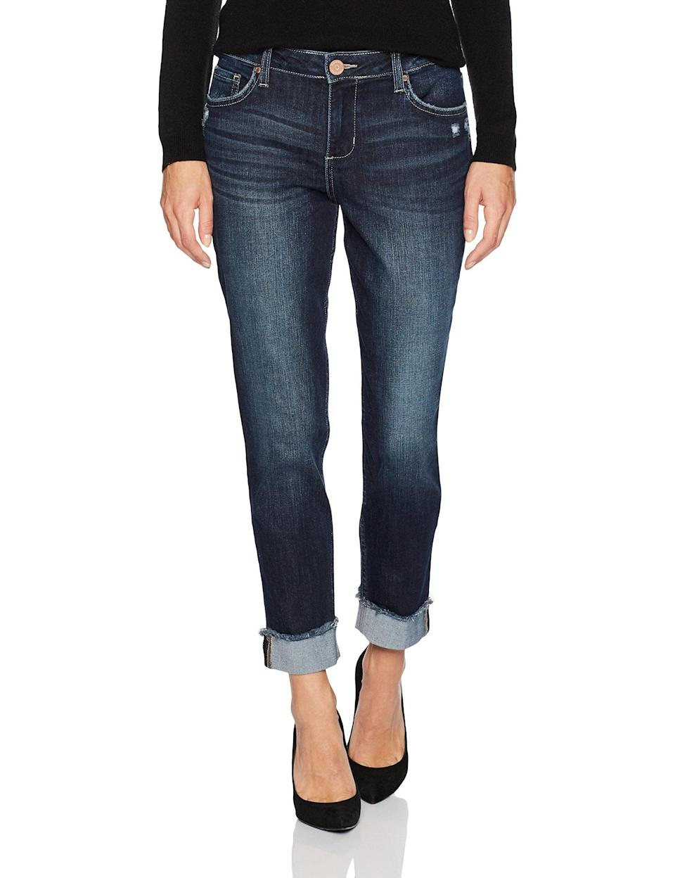 """<br><br><strong>Riders by Lee Indigo</strong> Fringe Cuff Boyfriend Jean, $, available at <a href=""""https://www.amazon.com/Riders-Lee-Indigo-Womens-Boyfriend/dp/B0733S9L16"""" rel=""""nofollow noopener"""" target=""""_blank"""" data-ylk=""""slk:Amazon"""" class=""""link rapid-noclick-resp"""">Amazon</a>"""