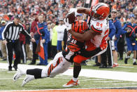 Cleveland Browns running back Nick Chubb (24) catches a touchdown pass against Cincinnati Bengals defensive back Brandon Wilson (40) in the first half of an NFL football game, Sunday, Nov. 25, 2018, in Cincinnati. (AP Photo/Frank Victores)