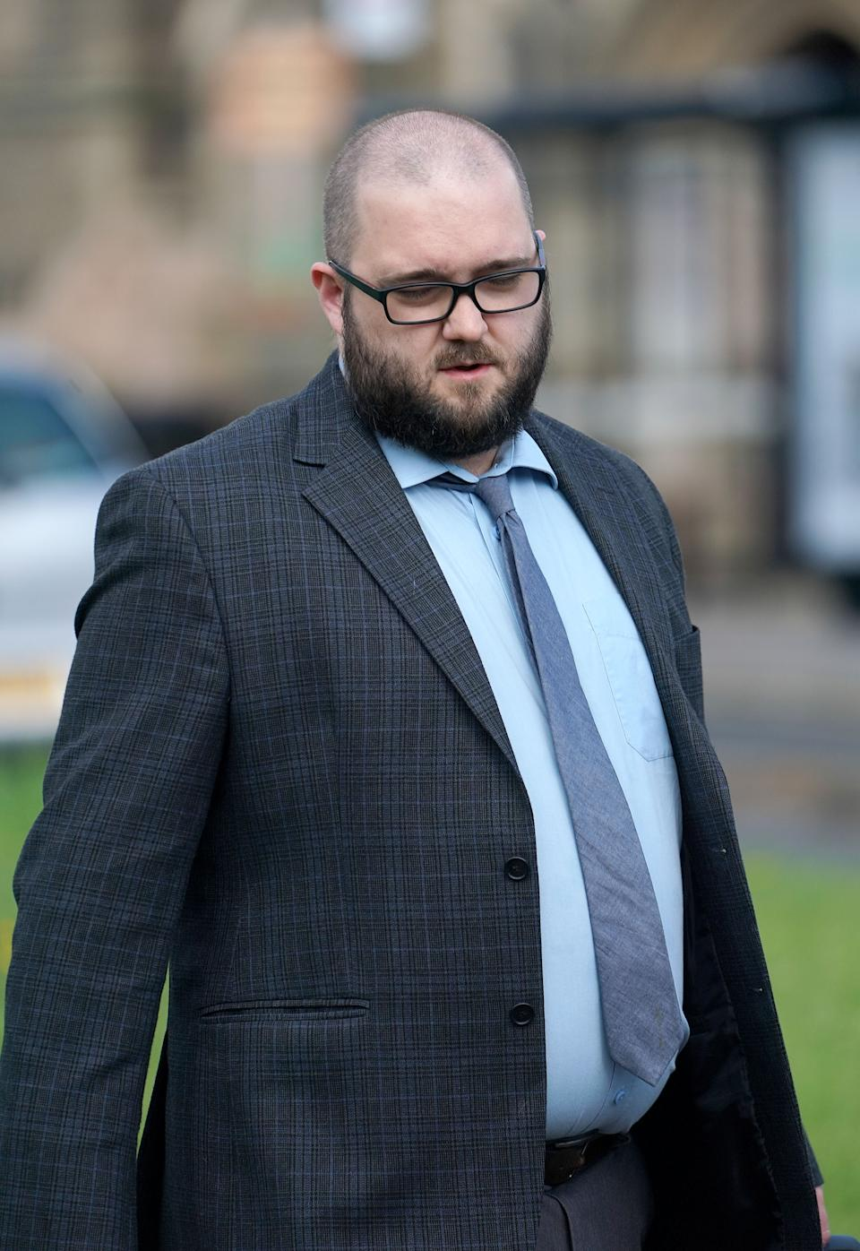 Paul Crowther arrives at North Tyneside Magistrates' Court in North Shields where he faces charges of common assault and criminal damage after throwing a milkshake at Nigel Farage during a city centre walkabout.