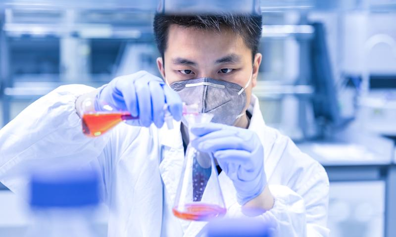 A scientist experimenting in the laboratory
