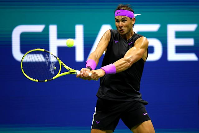 "Rafael Nadal cruised past <a class=""link rapid-noclick-resp"" href=""/olympics/rio-2016/a/1128002/"" data-ylk=""slk:John Millman"">John Millman</a> in his opening round match at the US Open on Tuesday. (Clive Brunskill/Getty Images)"