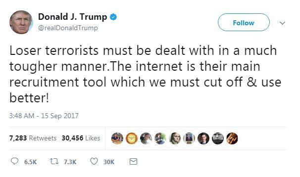 Trump tweeted a second message (Twitter)