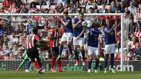 Britain Football Soccer - Sunderland v Manchester United - Premier League - Stadium of Light - 9/4/17 Sunderland's Jermain Defoe shoots at goal from a free kick Reuters / Russell Cheyne Livepic