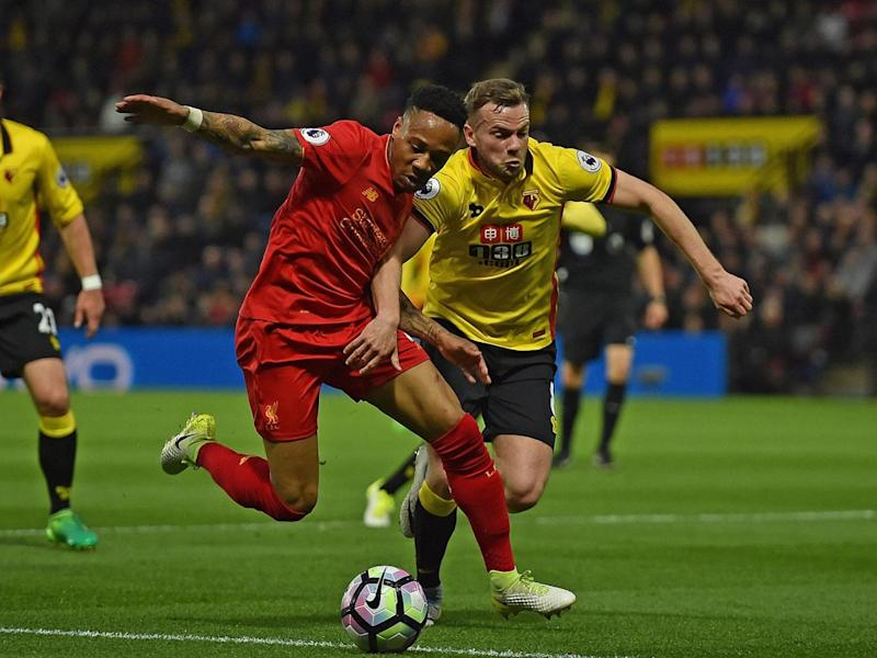 Tom Cleverly and Nathaniel Clyne vie for possession (Getty)