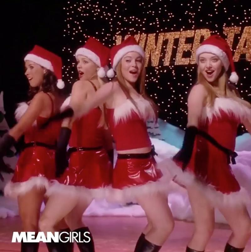 """You don't always think of """"Mean Girls"""" as a Christmas movie. Functionally, it's not. But there *is* this unforgettable talent show scene, in which the four titular mean girls are dressed in matching Santa Claus looks. It's perfect for any friend group, especially if you're mean."""