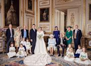 """<p>Princess Eugenie and Jack Brooksbank <a href=""""https://www.instagram.com/p/Bo47hv8H7CQ/"""" rel=""""nofollow noopener"""" target=""""_blank"""" data-ylk=""""slk:pose for their wedding portrait"""" class=""""link rapid-noclick-resp"""">pose for their wedding portrait</a> with their bridesmaids and page boys. Prince George and Princess Charlotte were in the wedding party, as well as Mia Tindall, Savannah Phillips, Maud Windsor, Theodora Williams, Isla Phillips, and Louis De Givenchy.</p>"""