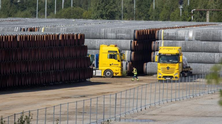 Gas pipes to be used in the Nord Stream 2 natural gas pipeline between Russia and Germany
