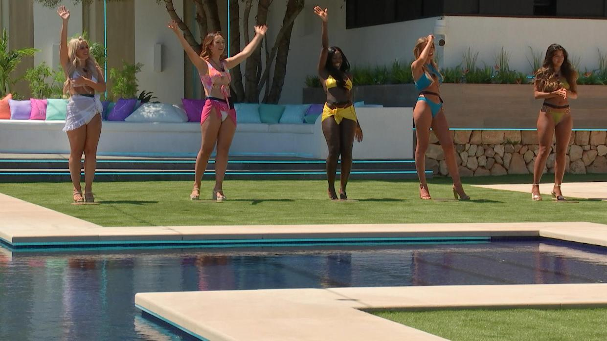 This image and the information contained herein is strictly embargoed until 21.00 Sunday 27th June 2021  From Lifted Entertainment  Love Island: SR7: Ep1 on ITV2 and ITV Hub new episodes are available the following morning on BritBox  Pictured: Liberty, Sharon, Kaz, Faye and Shannon.  This photograph is (C) ITV Plc and can only be reproduced for editorial purposes directly in connection with the programme or event mentioned above, or ITV plc. Once made available by ITV plc Picture Desk, this photograph can be reproduced once only up until the transmission [TX] date and no reproduction fee will be charged. Any subsequent usage may incur a fee. This photograph must not be manipulated [excluding basic cropping] in a manner which alters the visual appearance of the person photographed deemed detrimental or inappropriate by ITV plc Picture Desk.  This photograph must not be syndicated to any other company, publication or website, or permanently archived, without the express written permission of ITV Picture Desk. Full Terms and conditions are available on the website www.itv.com/presscentre/itvpictures/terms  For further information please contact: james.hilder@itv.com / 0207 157 3052