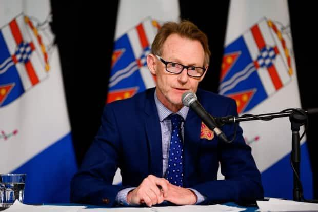 Brendan Hanley, Yukon's chief medical officer of health, speaks during a press conference in Whitehorse, Yukon on June 30, 2020. (Alistair Maitland/Government of Yukon - image credit)