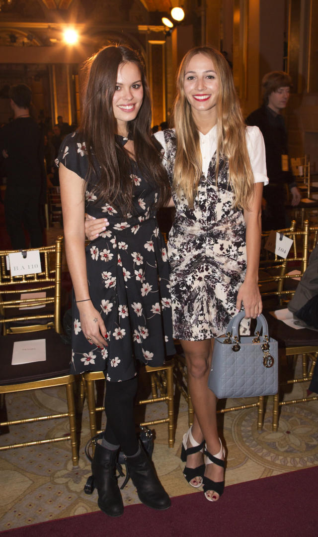DJs and models Atlanta de Cadenet-Taylor and Harley Viera-Newton (R) attend the presentation of the Zac Posen Autumn/Winter 2013 collection during New York Fashion Week February 10, 2013. REUTERS/Andrew Kelly (UNITED STATES - Tags: FASHION ENTERTAINMENT) - RTR3DMAA