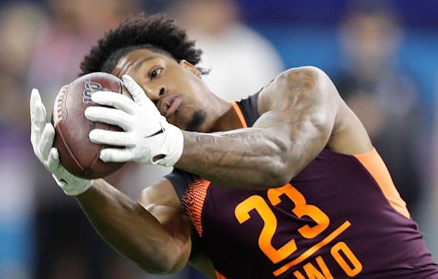 Wideout N'Keal Harry was the final first-round pick in April's NFL draft. (AP)