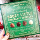 <p>We're about to get chocolate-wasted — literally. Trader Joe's is selling chocolate truffles with up to 2.6% alcohol by weight. The box is filled with an assortment of chocolates filled with London gin, scotch whisky, Navy rum, and prosecco.</p>