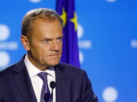 President of the European Council Donald Tusk listens at a news conference during the European Union Tallinn Digital Summit in Tallinn